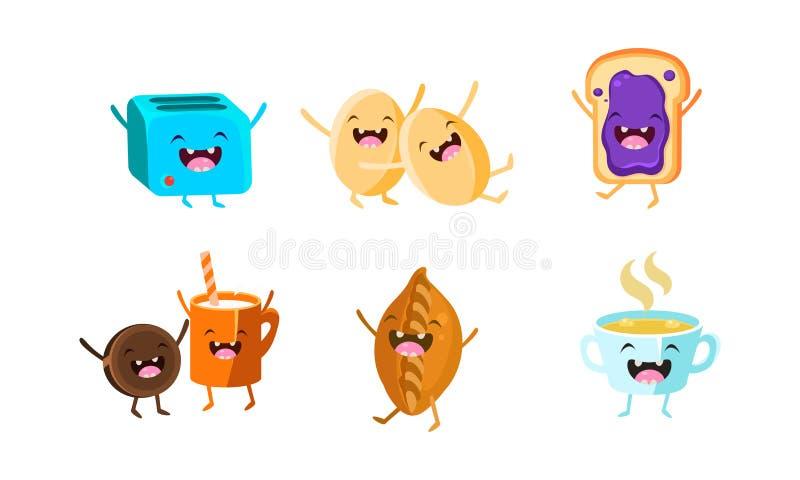 Gullig mat och drinkteckenuppsättning, rolig sund frukost, ägg, brödrost, kex och yoghurt, paj, smörgås med driftstopp vektor illustrationer