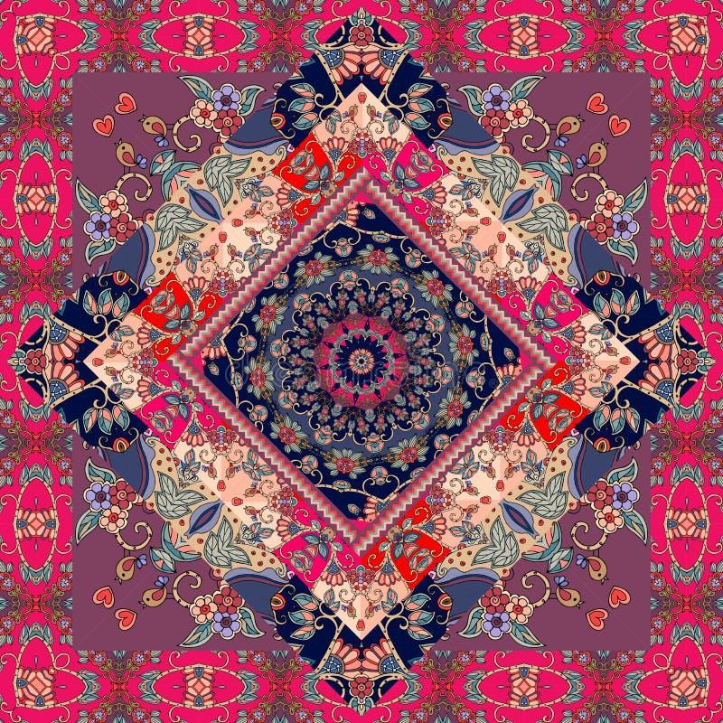 Gullig matta Förpackande design tablecloth pillowcase förbigick Rysk patchworkstil royaltyfri illustrationer