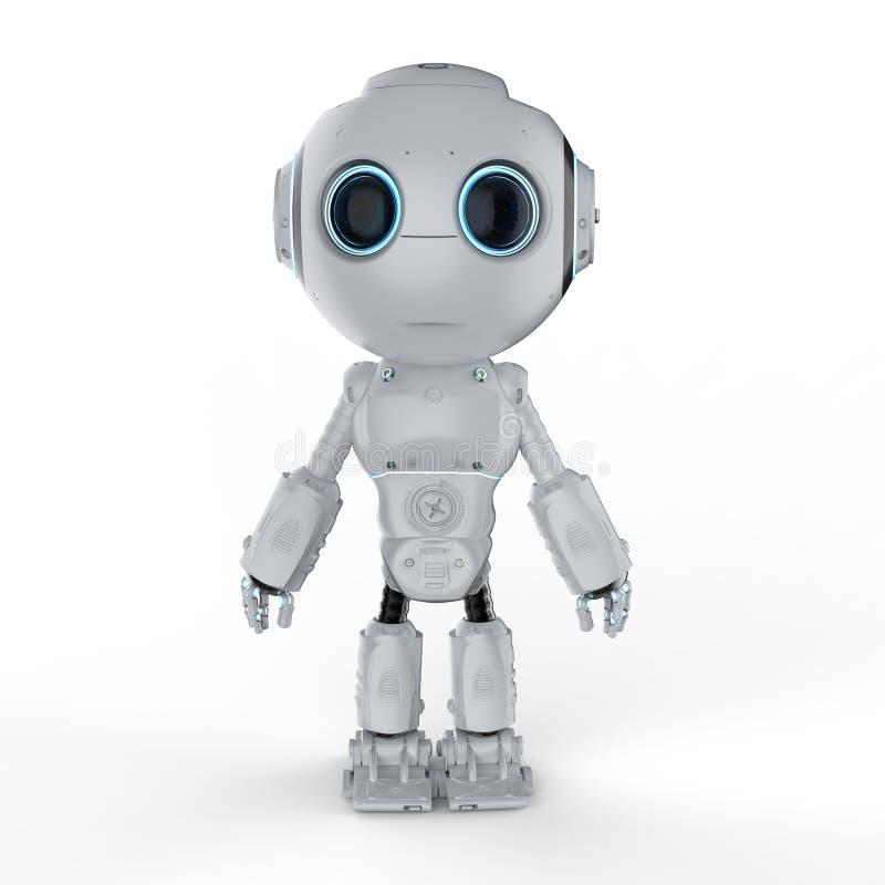Gullig mini- robot stock illustrationer