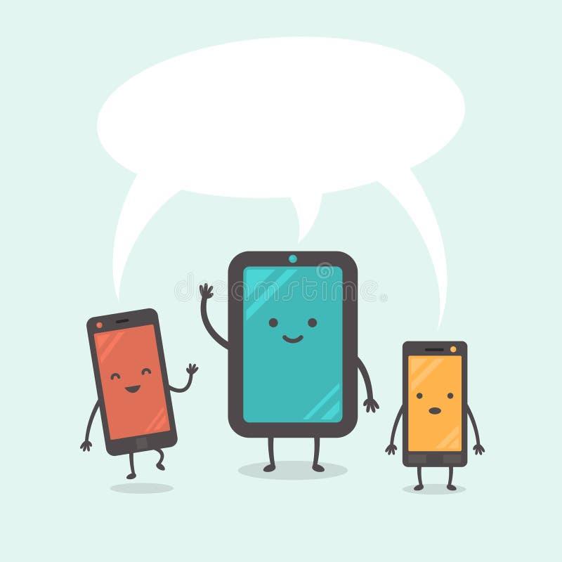 Gullig minnestavlaPC med smartphones stock illustrationer