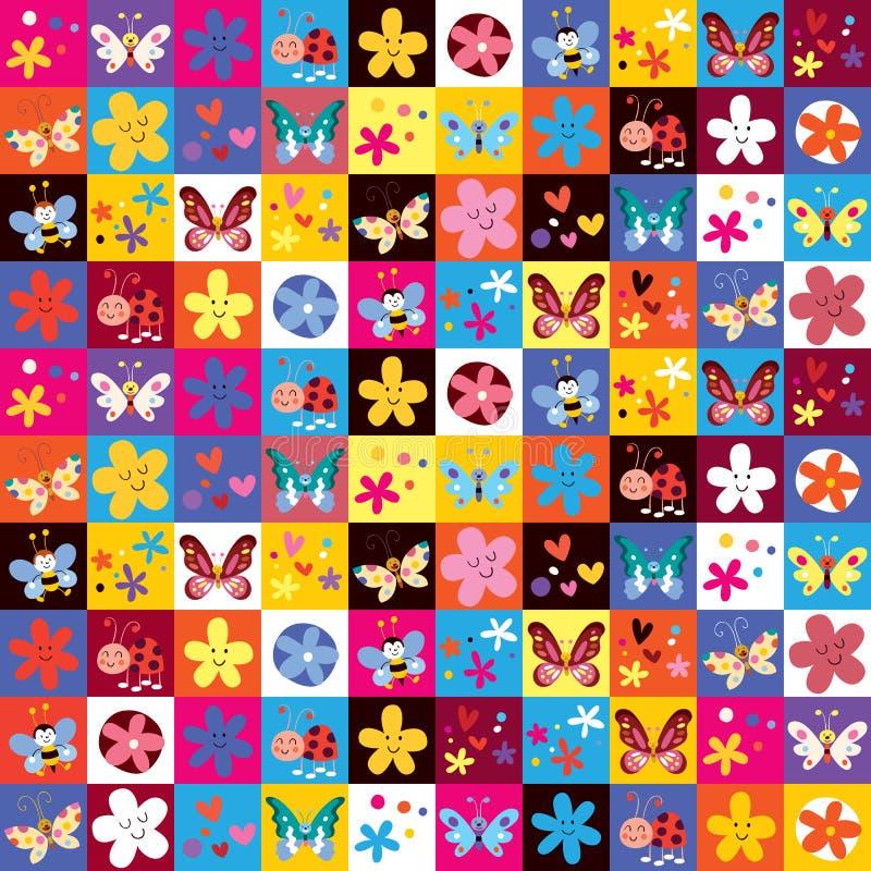 Gullig modell för fjärilsskalbaggeblommor royaltyfri illustrationer