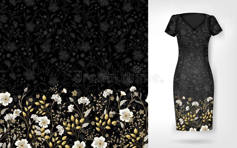 Gullig modell i små enkla blommor Sömlös bakgrund och sömlös gräns på olika mapplager Ett exempel av stock illustrationer