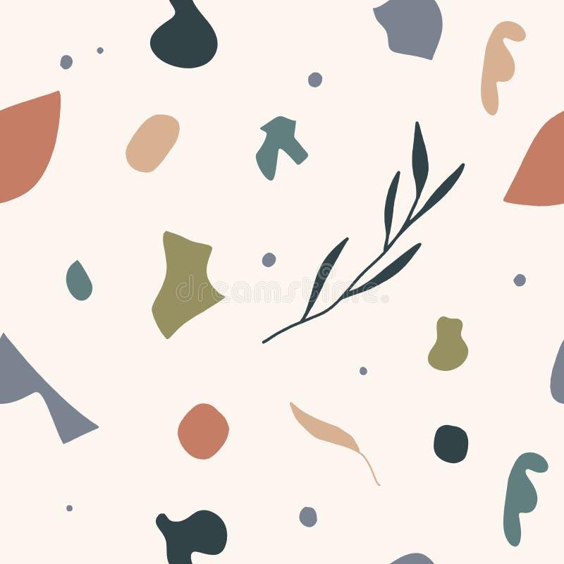 Gullig modern abstrakt tappningmodell i scandinavian stil Pastellfärgad barnkammaretapet med enkla former Vektor och jpgbild, royaltyfri illustrationer