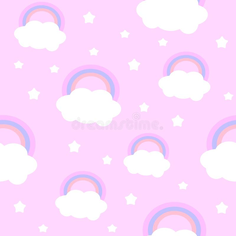 Gullig molnregnb?ge royaltyfri illustrationer