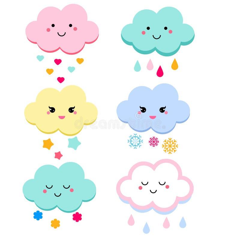 Gullig molnvektorillustration för ungar isolerade designbarn baby showermoln vektor illustrationer