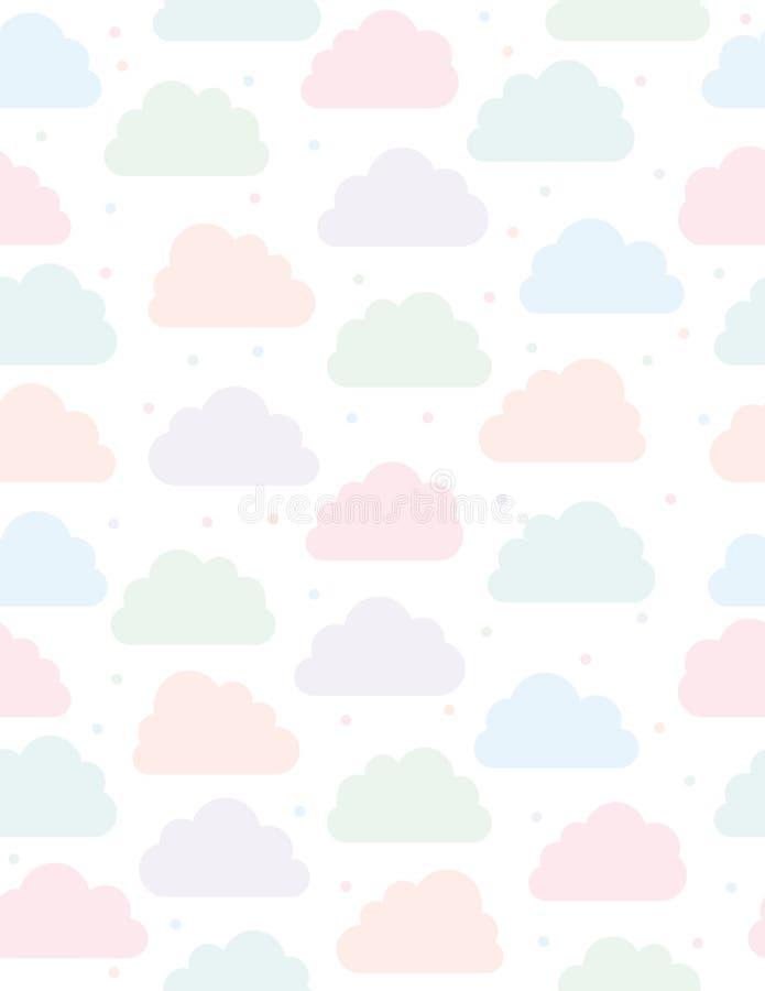 Gullig molnvektormodell Vit bakgrund Rosa färger, blått, Violet och gräsplanmoln och prickar Enkel mjuk sömlös design stock illustrationer