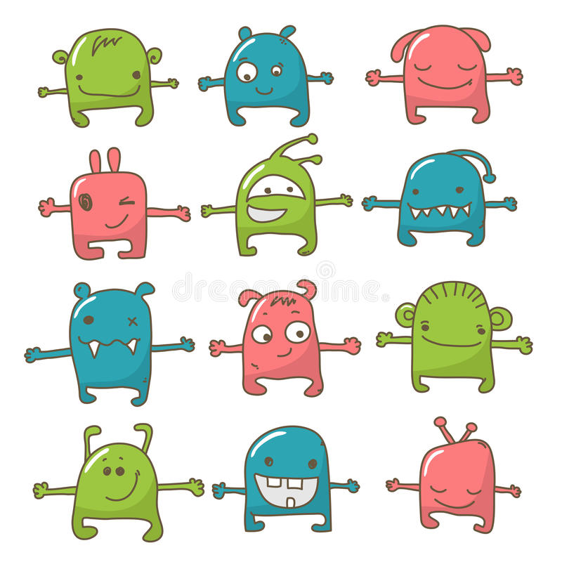 gullig monsterset vektor illustrationer