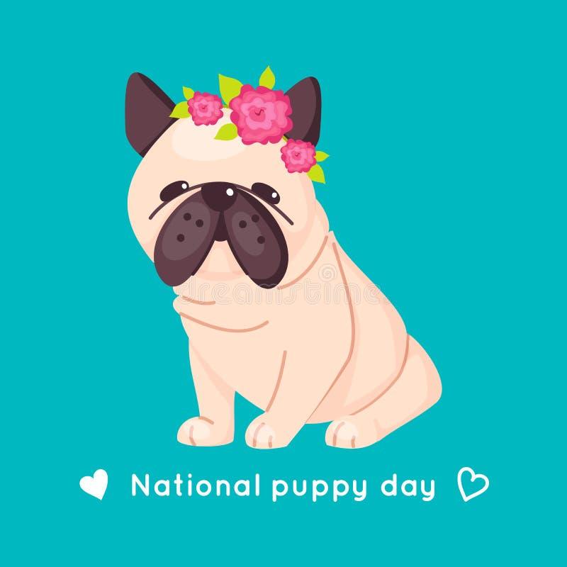 Gullig mops med den rosa blommakransen på hans huvud Vit och brun förtjusande hund Bulldoggvalp ocks? vektor f?r coreldrawillustr royaltyfri illustrationer