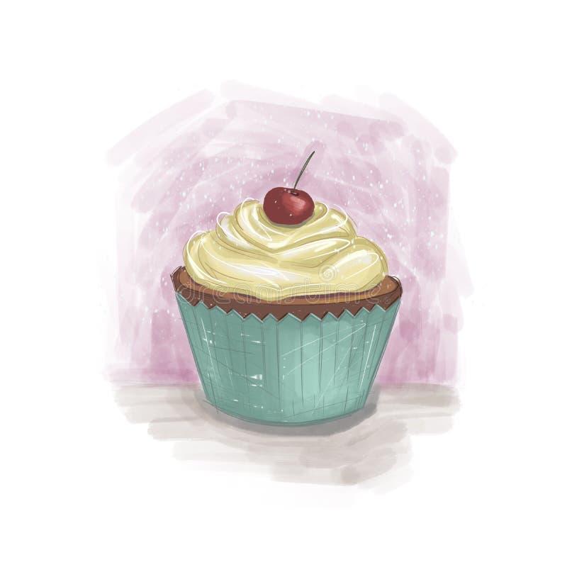 Gullig muffin med kräm och körsbäret överst på den vita och purpurfärgade bakgrunden vektor illustrationer