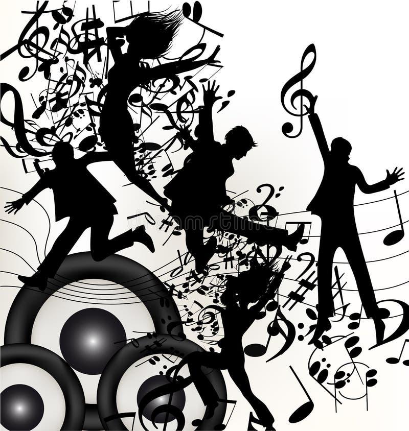 Begreppsmässig musikbakgrund med banhoppning silhouettes och noterar royaltyfri illustrationer