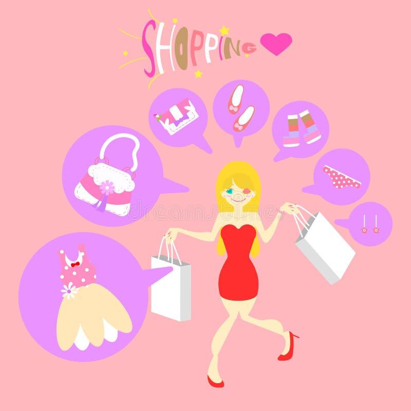 Gullig nätt kvinna som shoppar den plana teckendesignen för flicka, tecknad film royaltyfri illustrationer