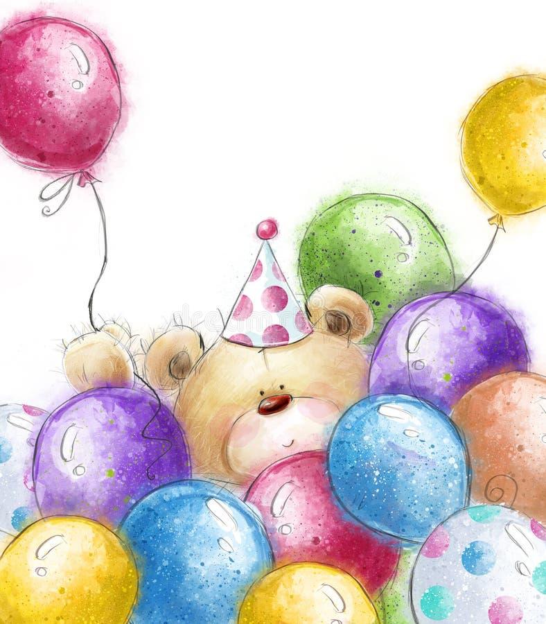 Gullig nallebjörn med de färgrika ballongerna Bakgrund med björnen och ballonger stock illustrationer