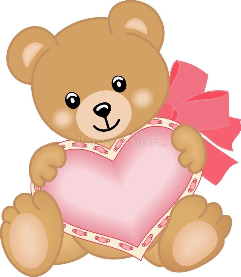 Gullig nallebjörn med hjärta stock illustrationer