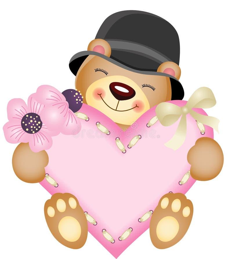 Gullig nallebjörn med hjärta vektor illustrationer