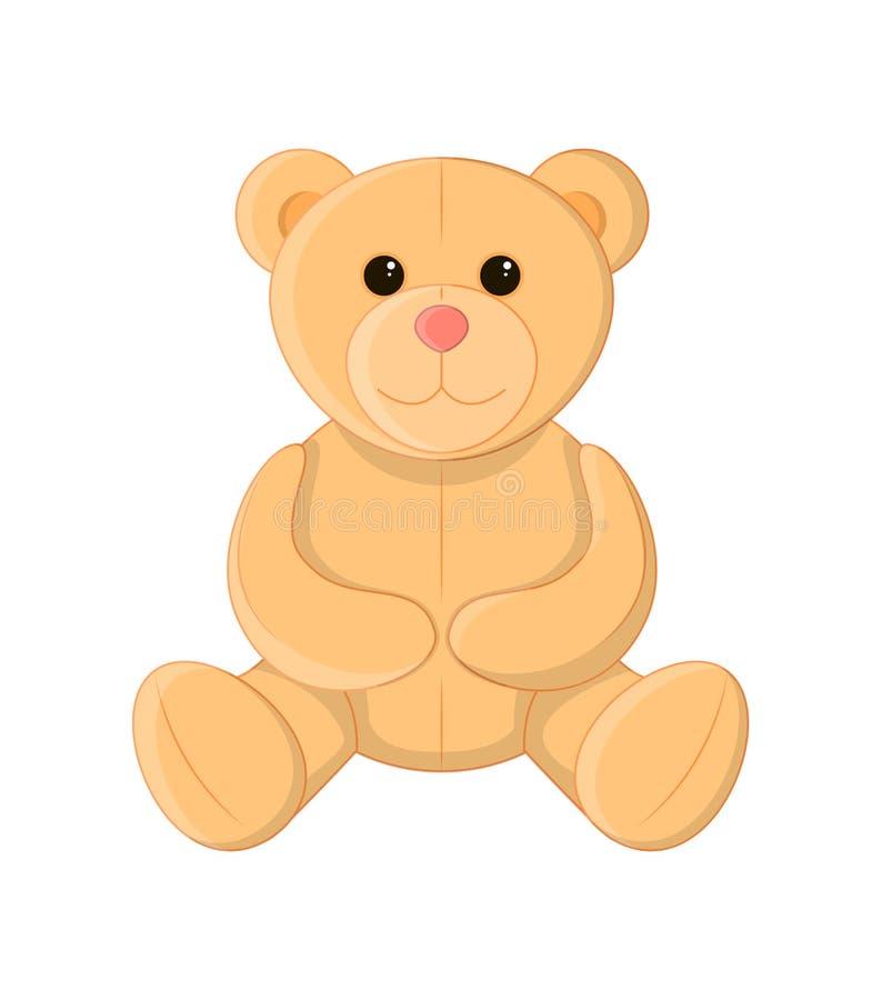 Gullig nallebjörn, mjuk leksak, vektorillustration vektor illustrationer