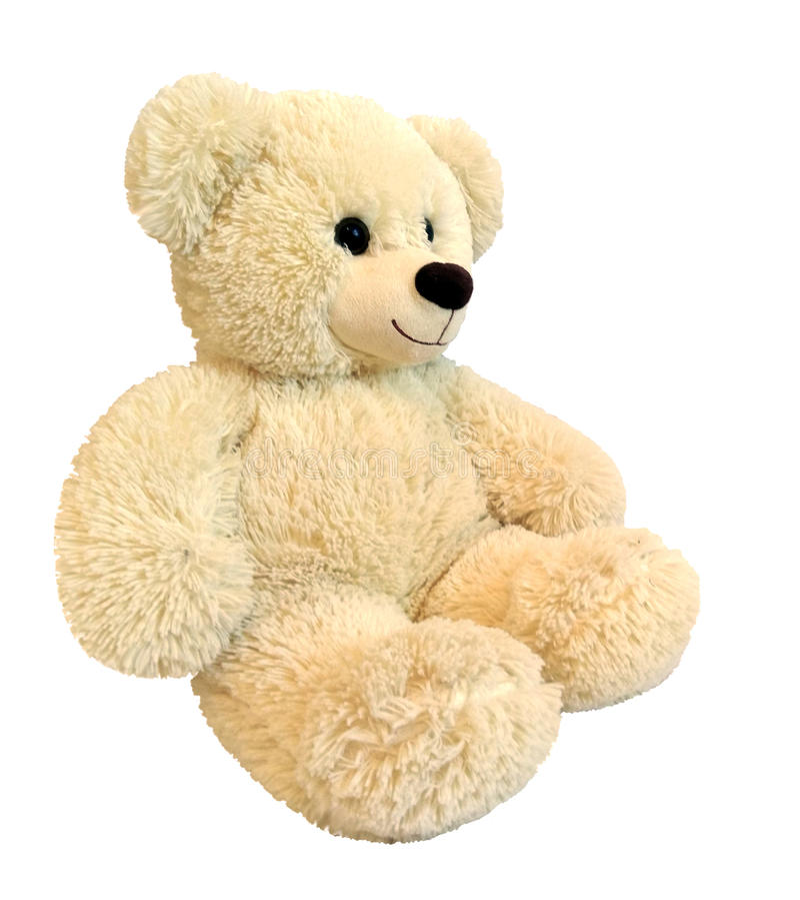 Gullig nallebjörn på vitbakgrund arkivbilder