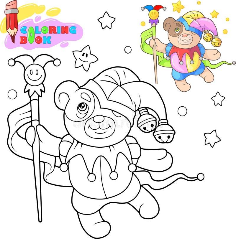 Gullig nallebjörn som dansar, rolig illustration, färgläggningbok stock illustrationer