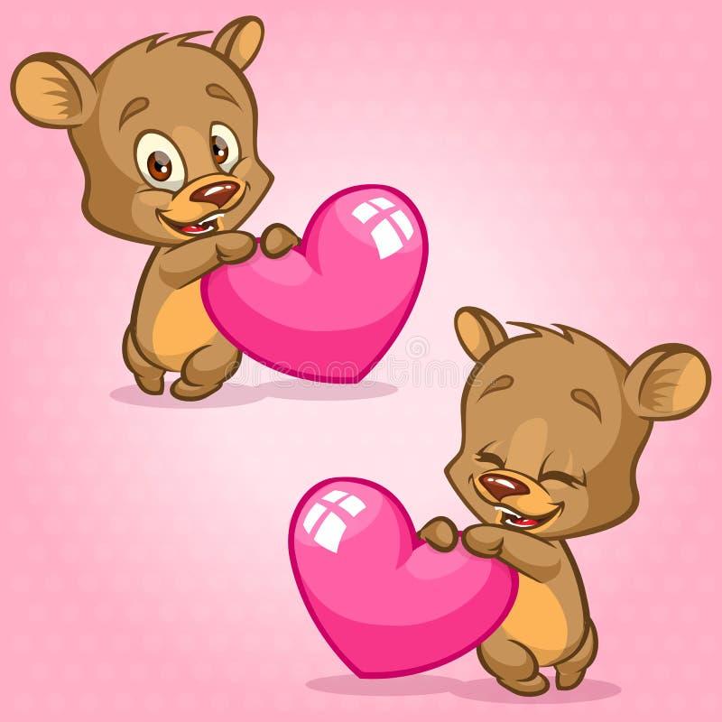 Gullig nallebjörn som rymmer röd hjärta Vektorillustration för St-valentin dag Björnsinnesrörelseuppsättning royaltyfri illustrationer