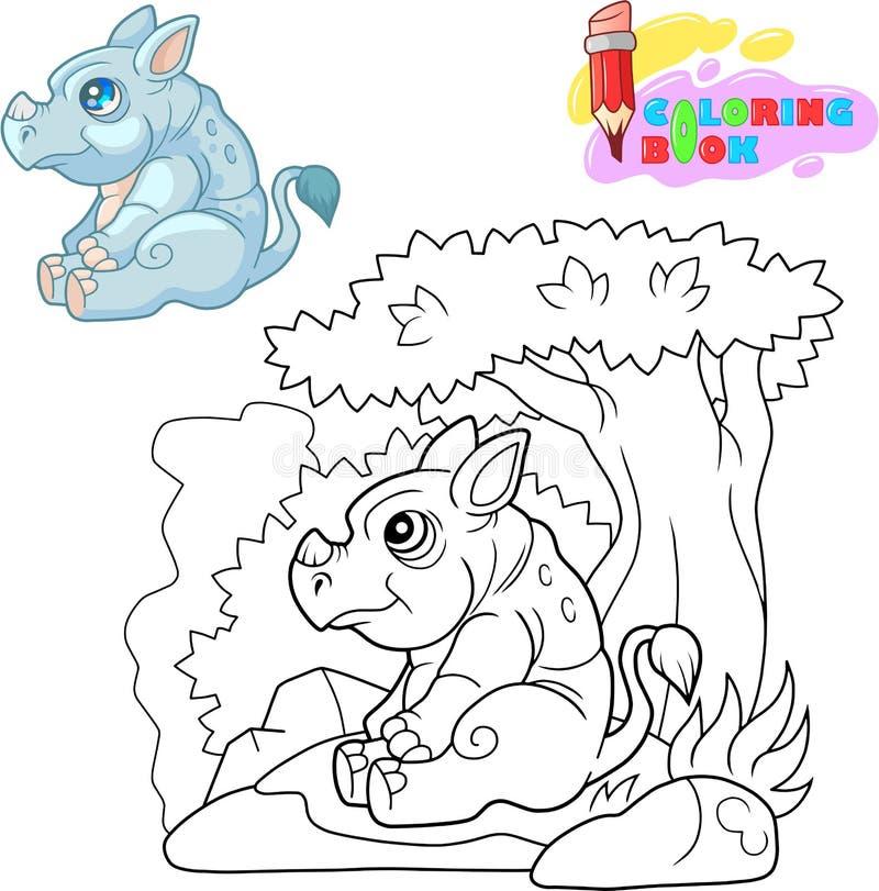 Gullig noshörning som sitter under en trädfärgläggningbok vektor illustrationer