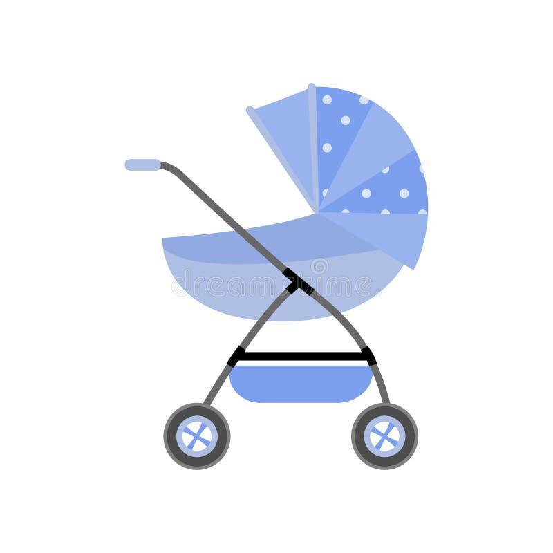 Gullig nyfödd blå sittvagn med prickigt material och den extra korgen royaltyfri illustrationer