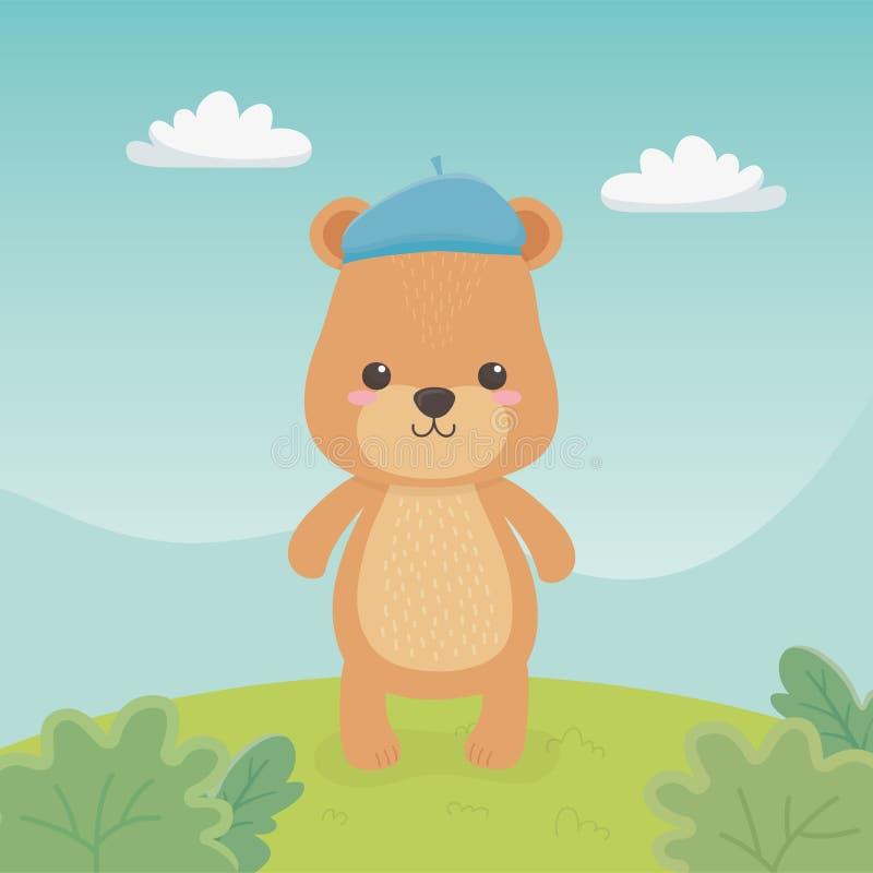Gullig och liten björnnalle i fältet vektor illustrationer