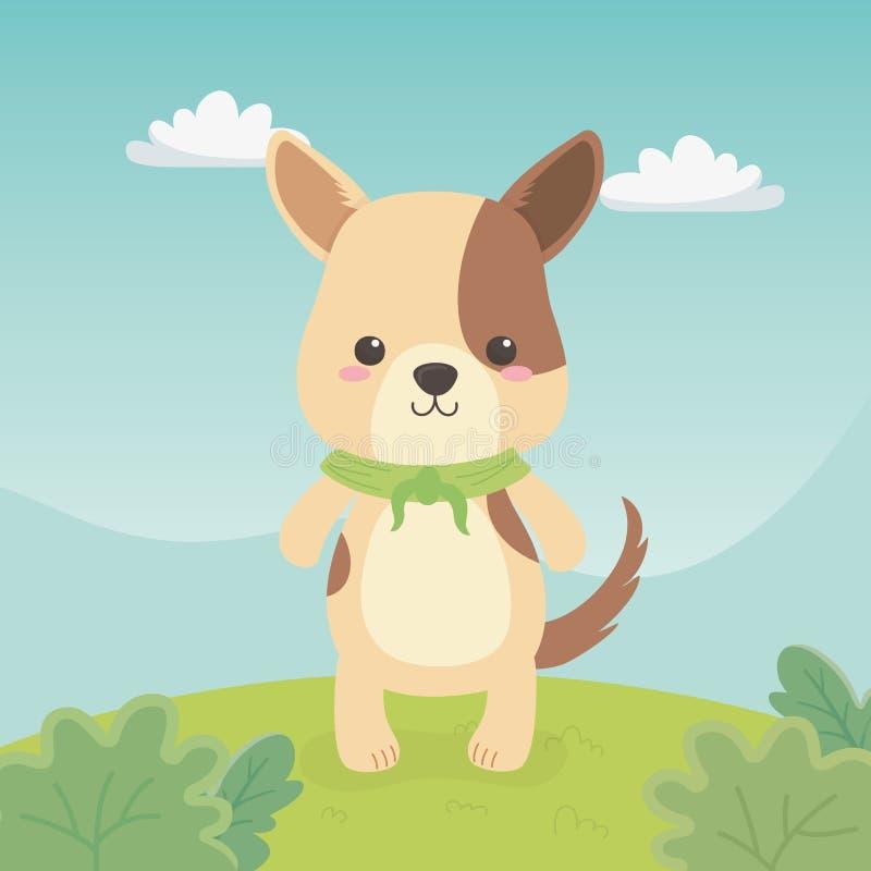 Gullig och liten hund i fältet royaltyfri illustrationer
