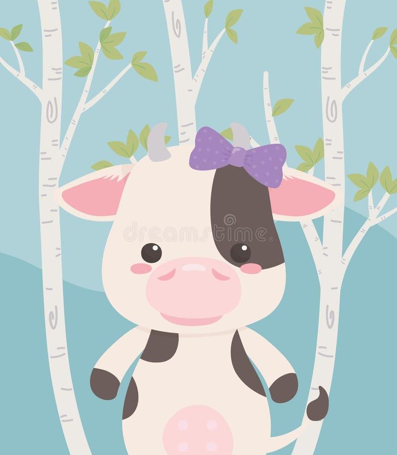 Gullig och liten ko i fältet royaltyfri illustrationer