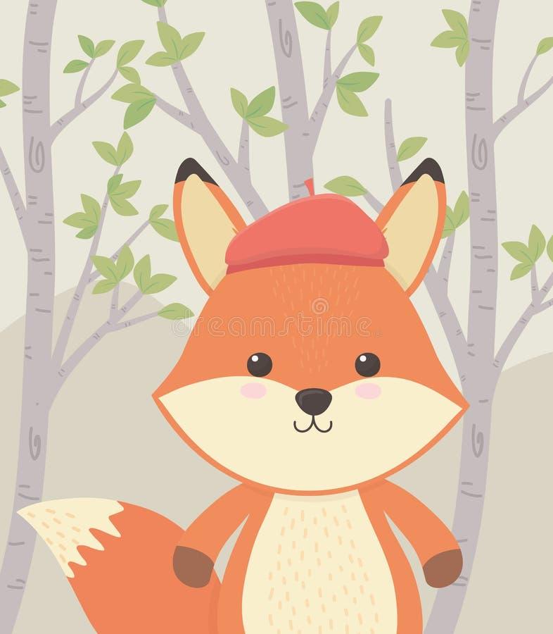 Gullig och liten räv i fältet royaltyfri illustrationer