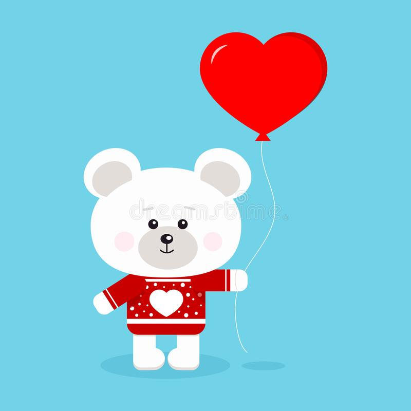 Gullig och söt isbjörn för isolerad romantiker på den röda tröjan royaltyfri illustrationer