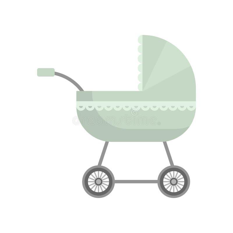 Gullig olivgrön grön färg behandla som ett barn sittvagnen med textilprydnaden stock illustrationer