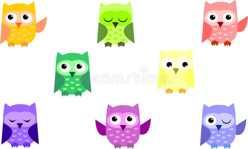 gullig owl stock illustrationer