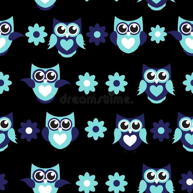 Gullig Owl Seamless Pattern Background Vector illustration royaltyfri illustrationer