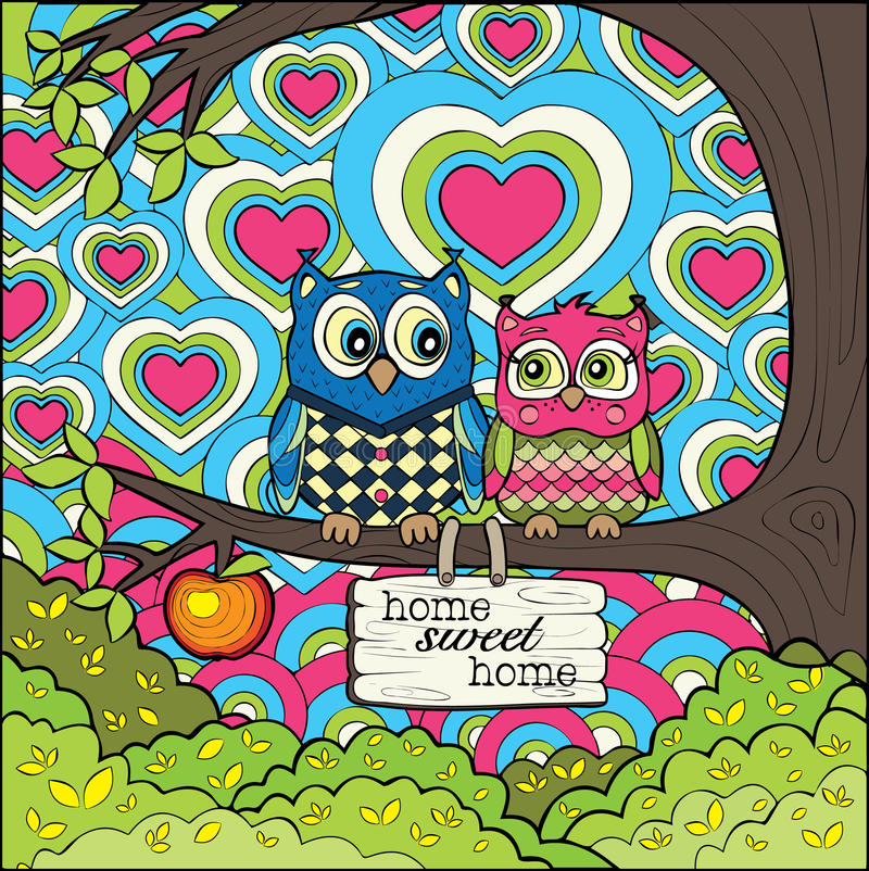 Gullig owlfamilj royaltyfri illustrationer