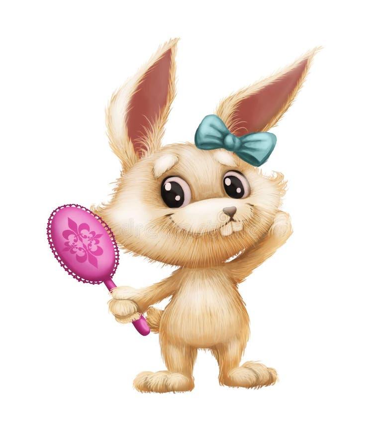 Gullig päls- kanin - djur teckenmaskot för tecknad film som ser i spegeln och le för hand stock illustrationer