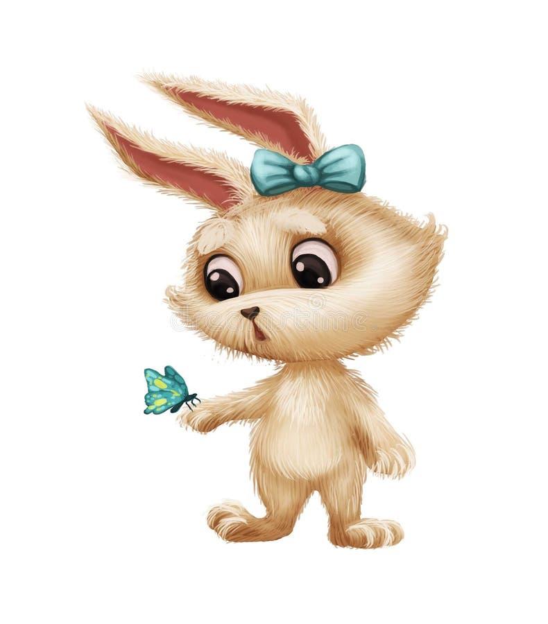 Gullig päls- kanin med fjärilen - djur teckenmaskot för tecknad film som förvånas och förbluffas royaltyfri illustrationer