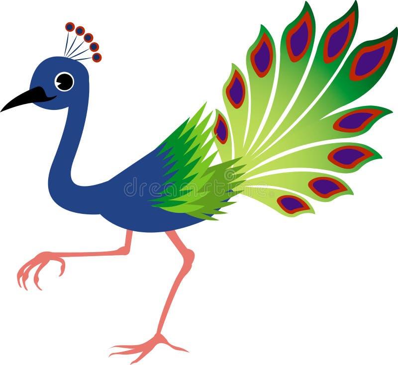 gullig påfågel stock illustrationer