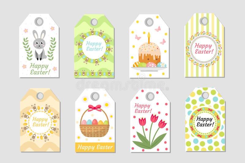 Gullig påsketikettsuppsättning Märker samlingen med kanin, ägg och blommor Vårmallar för din design Vecto stock illustrationer