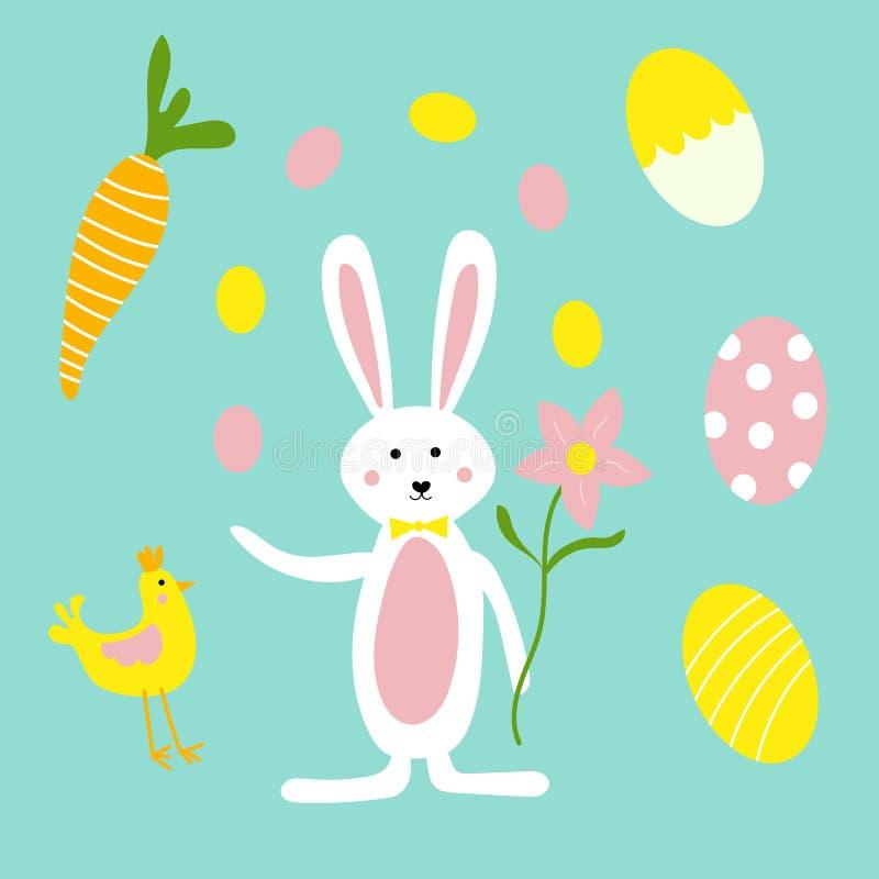 Gullig påskkanin, blommor, morötter och höna royaltyfri illustrationer
