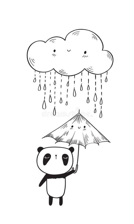 gullig panda stock illustrationer
