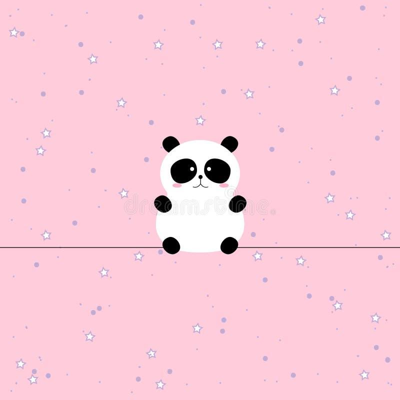 Gullig panda, djur bakgrund med stjärnor för ungar royaltyfri illustrationer