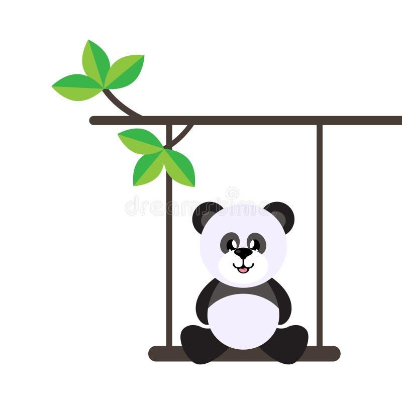Gullig panda för tecknad film på en gunga och på en filial vektor illustrationer