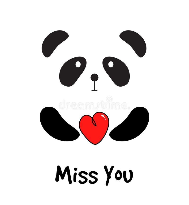 Gullig panda med röd hjärta kortmiss dig royaltyfri illustrationer