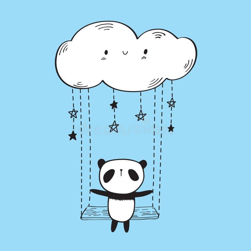 Gullig panda på gungan vektor illustrationer