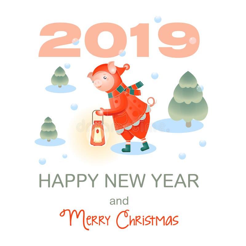 gullig pig Glad jul och lyckligt nytt år Kort för vinterskoghälsning stock illustrationer
