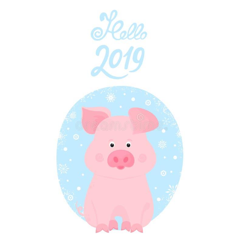gullig pig roligt piggy kinesiskt nytt år Hello 2019 handbokstäver royaltyfri illustrationer