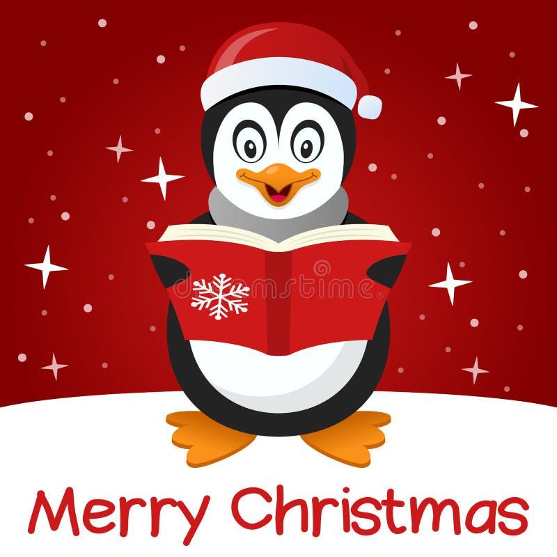 Gullig pingvin för röd julkort stock illustrationer