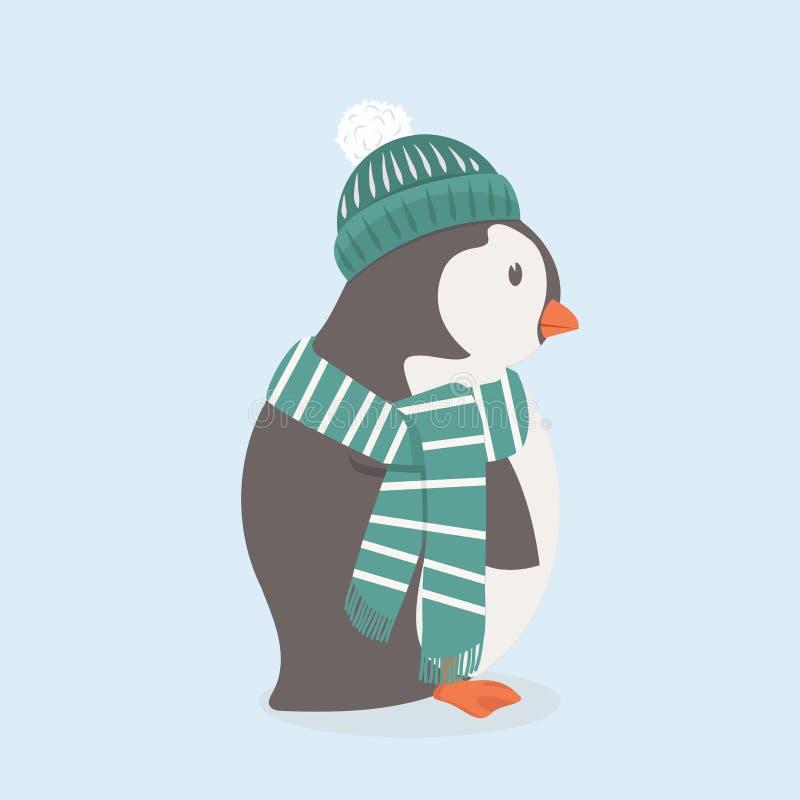 Gullig pingvin med den gröna hatten och halsduken vektor illustrationer