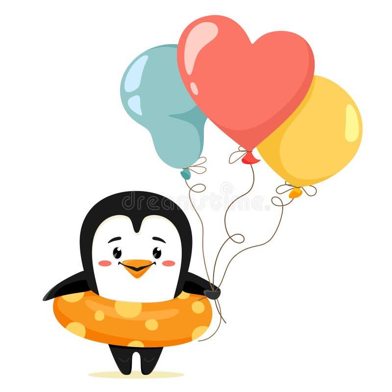 Gullig pingvin med en simma cirkel och ballonger Vektorillustration i tecknad filmstil Utmärkt för barns tryck, dekoren och rengö vektor illustrationer