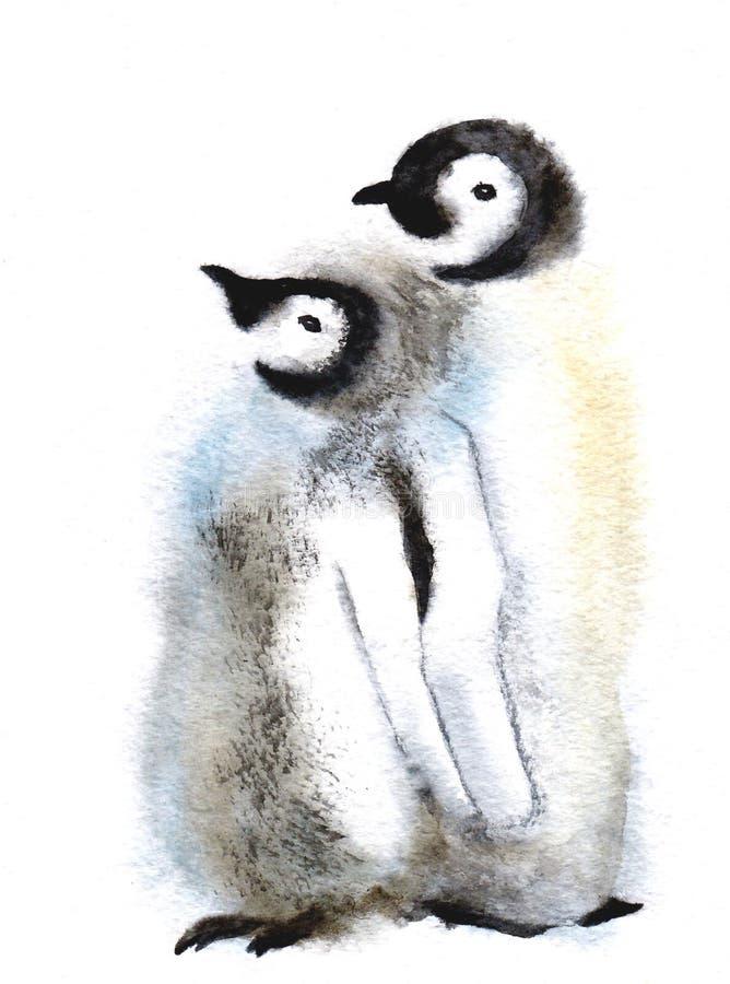 Gullig pingvinfamilj Löst polart djur som isoleras på vit bakgrund Artic tecken för vinter behandla som ett barn modern Vattenfär vektor illustrationer