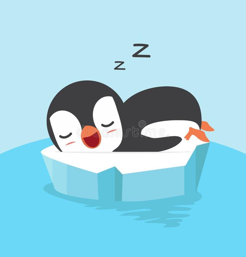 Gullig pingvinsömn på isisflak royaltyfri illustrationer